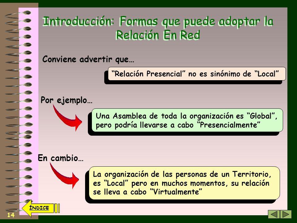 13 ÍNDICE Introducción: Formas que puede adoptar la Relación En Red Lo Local tiene que ver con organizaciones pertenecientes a un cierto Territorio Lo