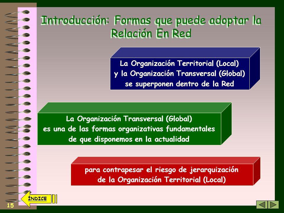 14 ÍNDICE Introducción: Formas que puede adoptar la Relación En Red Relación Presencial no es sinónimo de Local Conviene advertir que… Una Asamblea de