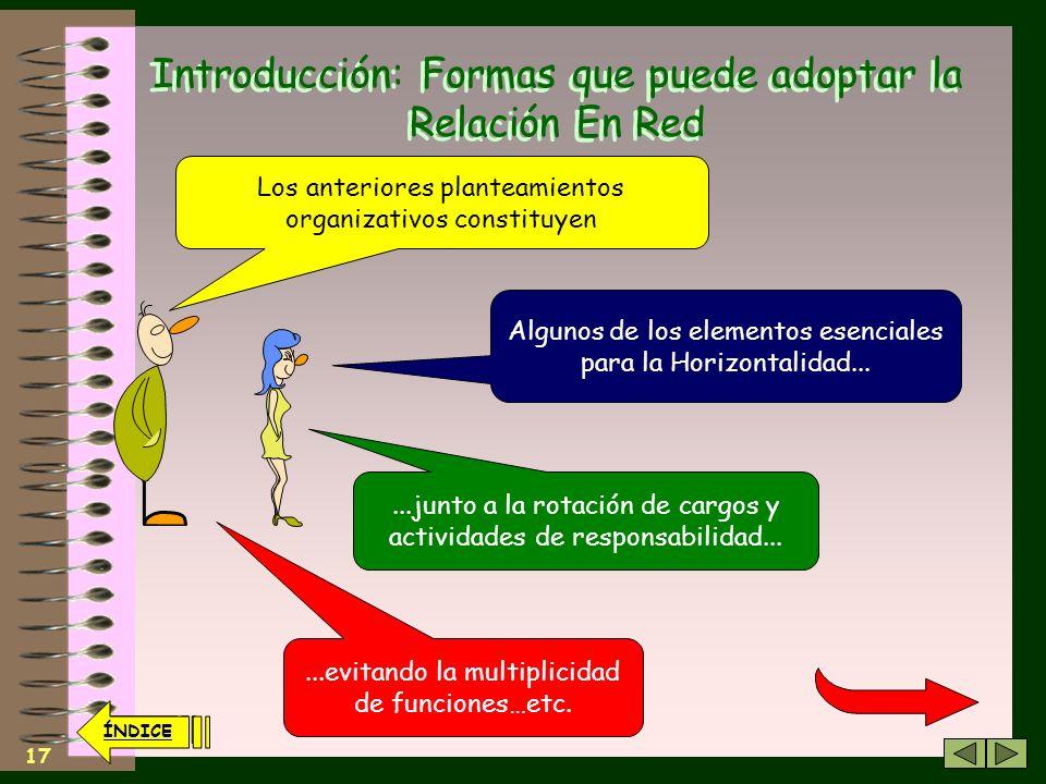 16 ÍNDICE Introducción: Formas que puede adoptar la Relación En Red La Organización Territorial Debe propiciar el menor número de niveles de Coordinac