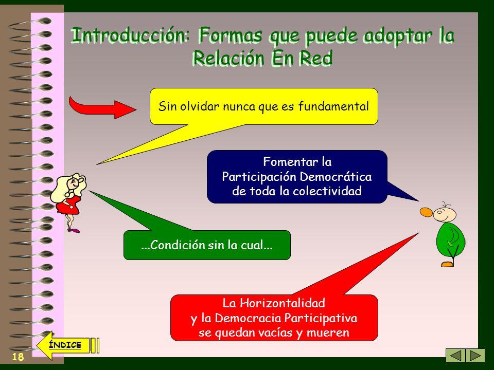 17 ÍNDICE Introducción: Formas que puede adoptar la Relación En Red Los anteriores planteamientos organizativos constituyen Algunos de los elementos esenciales para la Horizontalidad......junto a la rotación de cargos y actividades de responsabilidad......evitando la multiplicidad de funciones…etc.