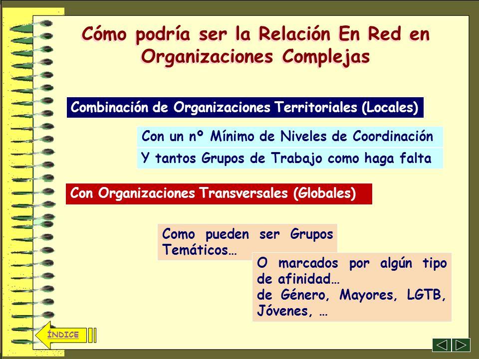 25 ÍNDICE Cómo podría ser la Relación En Red en Organizaciones Complejas Cada uno con sus características peculiares, pero con un enfoque y objetivos
