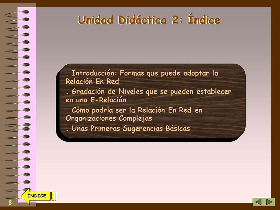 2 ÍNDICE Unidad Didáctica 2 Las diversas Formas de Relación dentro de una Organización En Red Las diversas Formas de Relación dentro de una Organización En Red ÍNDICE