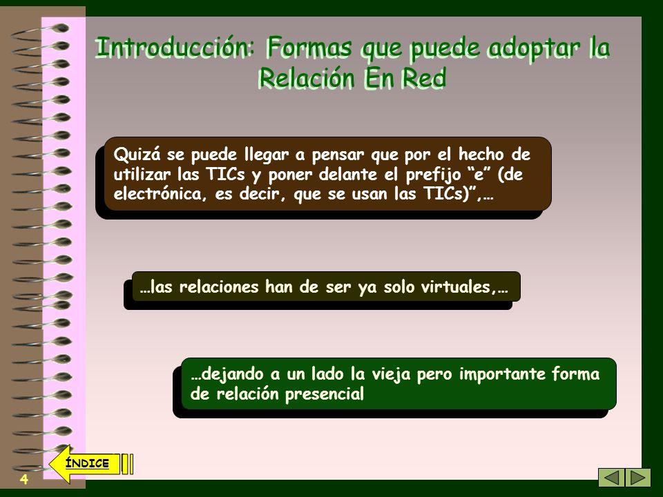 3 Unidad Didáctica 2: Índice. Introducción: Formas que puede adoptar la Relación En Red. Gradación de Niveles que se pueden establecer en una E-Relaci