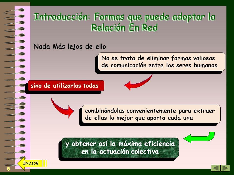 4 Introducción: Formas que puede adoptar la Relación En Red Quizá se puede llegar a pensar que por el hecho de utilizar las TICs y poner delante el pr