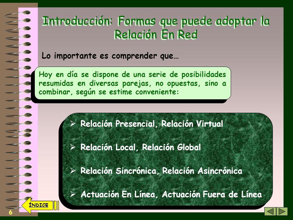 5 Introducción: Formas que puede adoptar la Relación En Red No se trata de eliminar formas valiosas de comunicación entre los seres humanos Nada Más l