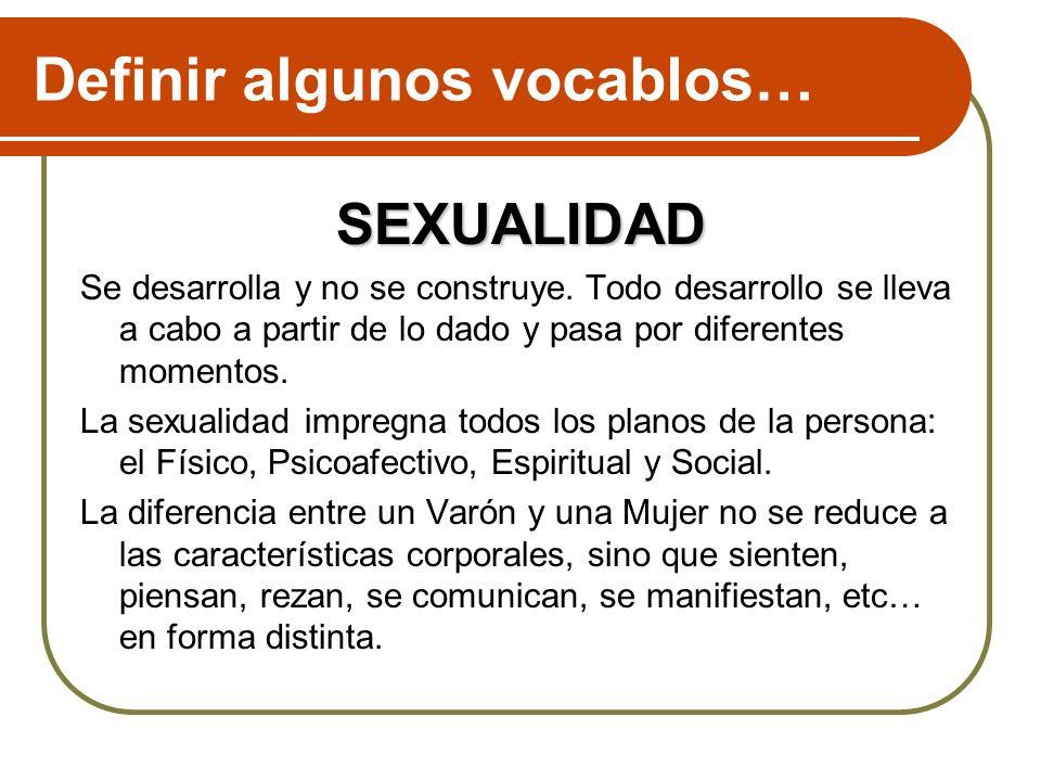 Definir algunos vocablos … La sexualidad, abarca todas las expresiones del ser humano como varón o como mujer: se refiere a ese colorido masculino o femenino, teñido de afectividad, con que un sexo gravita hacia el otro, a ese modo propio de reaccionar de un sexo frente al otro en todos los niveles de convivencia, comunicación e intimidad.