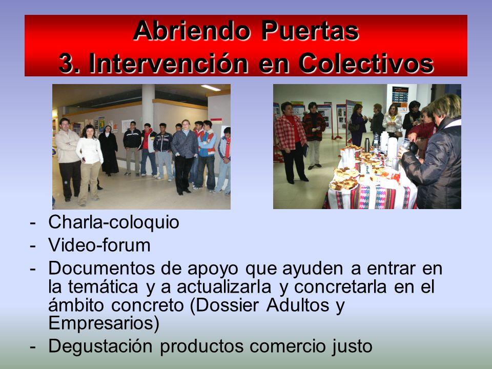 Abriendo Puertas 3. Intervención en Colectivos -Charla-coloquio -Video-forum -Documentos de apoyo que ayuden a entrar en la temática y a actualizarla