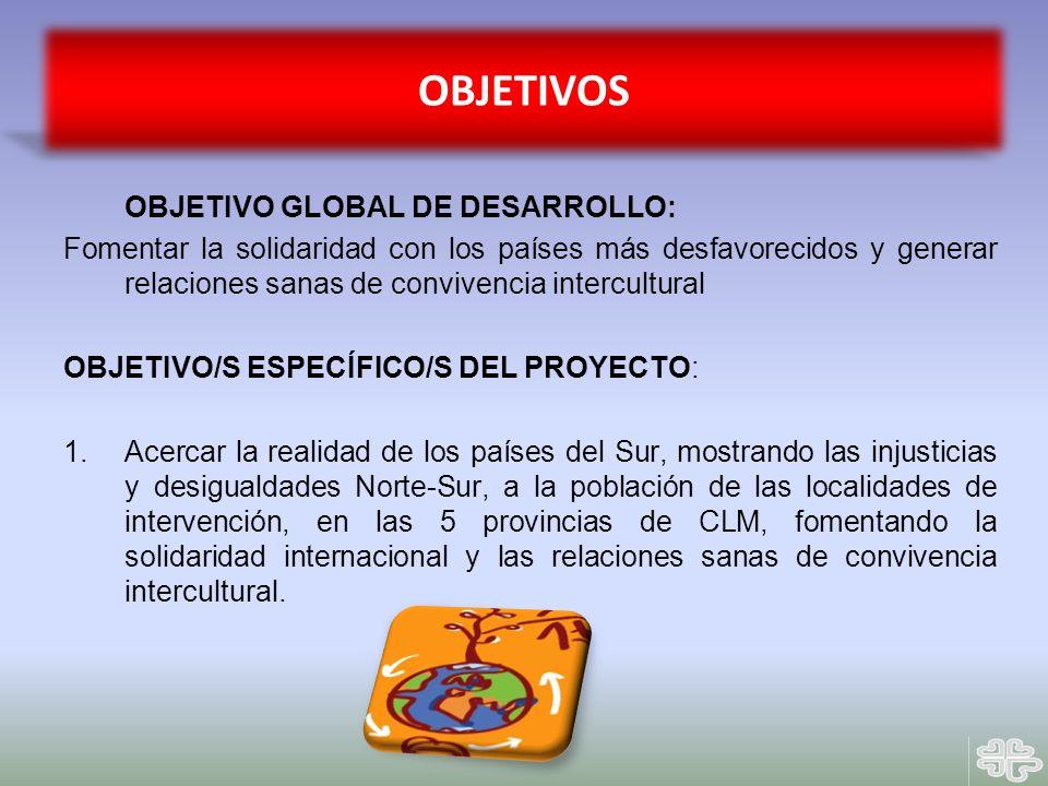 OBJETIVO GLOBAL DE DESARROLLO: Fomentar la solidaridad con los países más desfavorecidos y generar relaciones sanas de convivencia intercultural OBJET