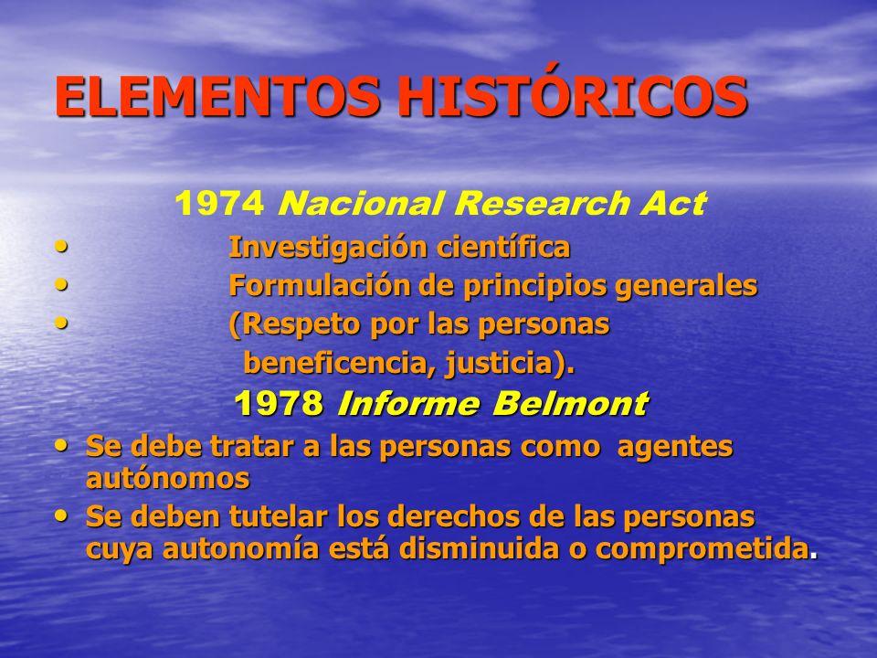 ELEMENTOS HISTÓRICOS 1974 Nacional Research Act Investigación científica Investigación científica Formulación de principios generales Formulación de p