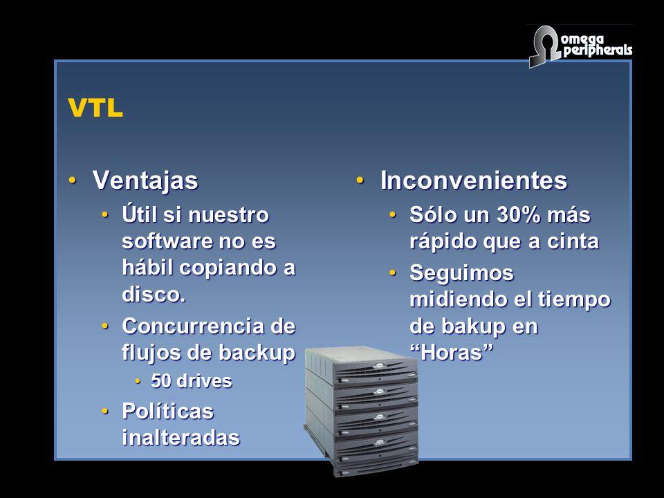 VTL VentajasVentajas Útil si nuestro software no es hábil copiando a disco.Útil si nuestro software no es hábil copiando a disco.