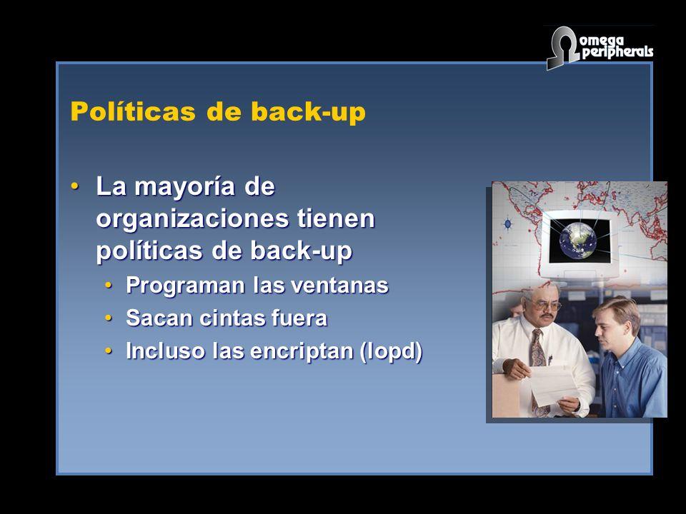 Políticas de back-up La mayoría de organizaciones tienen políticas de back-upLa mayoría de organizaciones tienen políticas de back-up Programan las ventanasPrograman las ventanas Sacan cintas fueraSacan cintas fuera Incluso las encriptan (lopd)Incluso las encriptan (lopd)