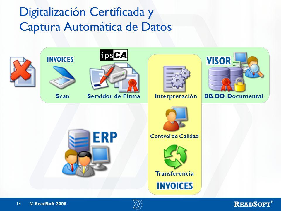 13© ReadSoft 2008 Digitalización Certificada y Captura Automática de Datos Interpretación Control de Calidad Transferencia ScanServidor de FirmaBB.DD.