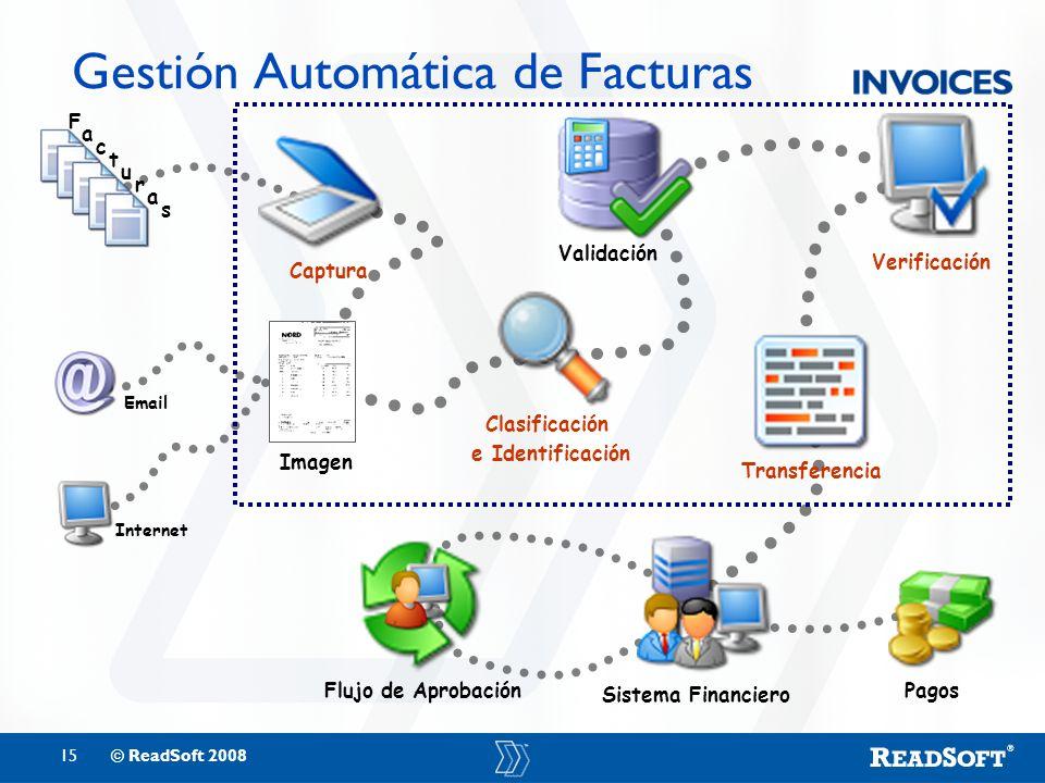 15© ReadSoft 2008 Gestión Automática de Facturas Flujo de Aprobación Pagos Imagen F a c t u r a s Captura Clasificación e Identificación Transferencia