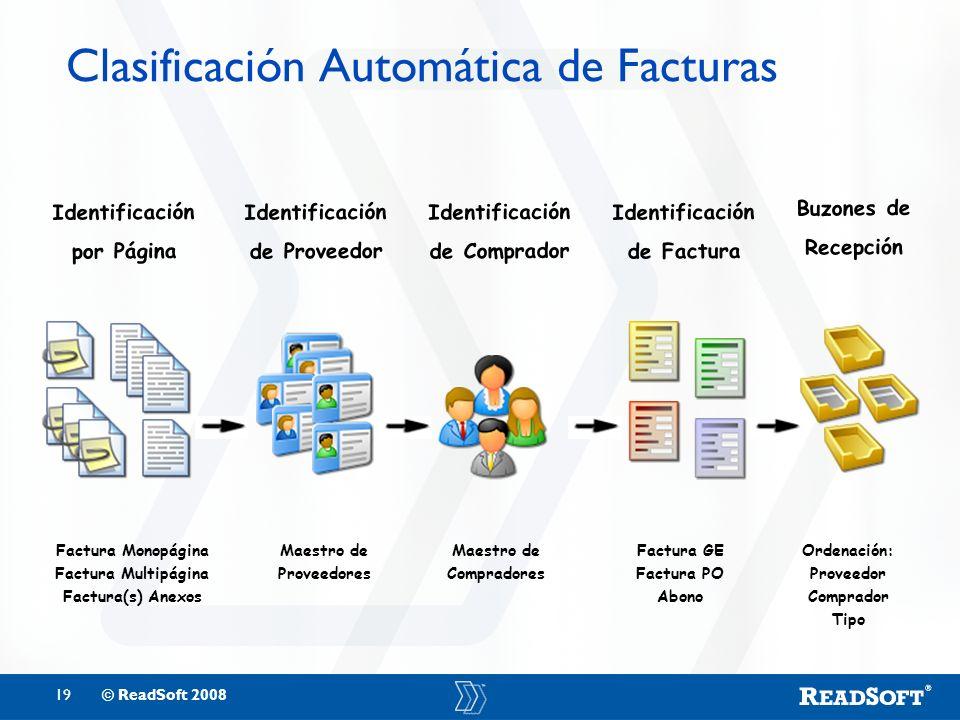 19© ReadSoft 2008 Clasificación Automática de Facturas Factura Monopágina Factura Multipágina Factura(s) Anexos Identificación por Página Identificaci