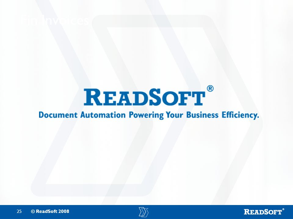 25© ReadSoft 2008 Fin Invoices