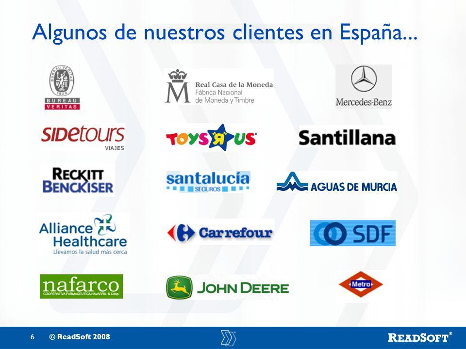 6© ReadSoft 2008 Algunos de nuestros clientes en España...