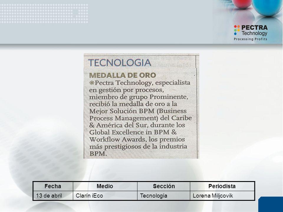 FechaMedioSecciónPeriodista 13 de abrilClarín iEcoTecnologíaLorena Miljcovik