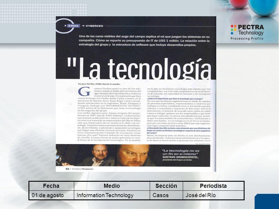 FechaMedioSecciónPeriodista 01 de agostoInformation TechnologyCasosJosé del Río