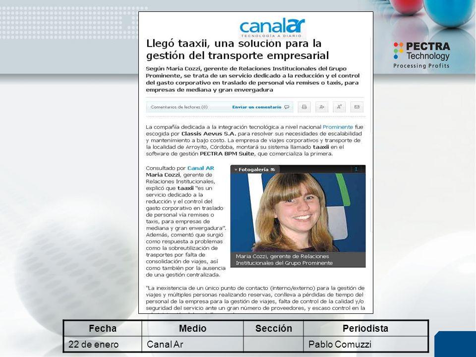 FechaMedioSecciónPeriodista 22 de eneroCanal ArPablo Comuzzi