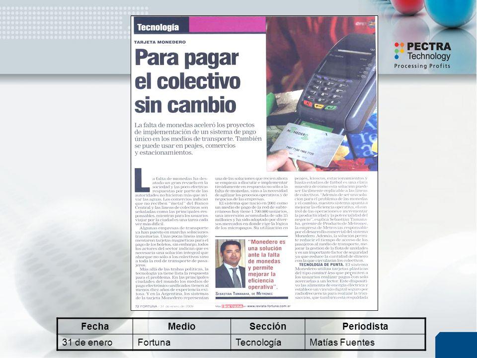 FechaMedioSecciónPeriodista 31 de eneroFortunaTecnologíaMatías Fuentes