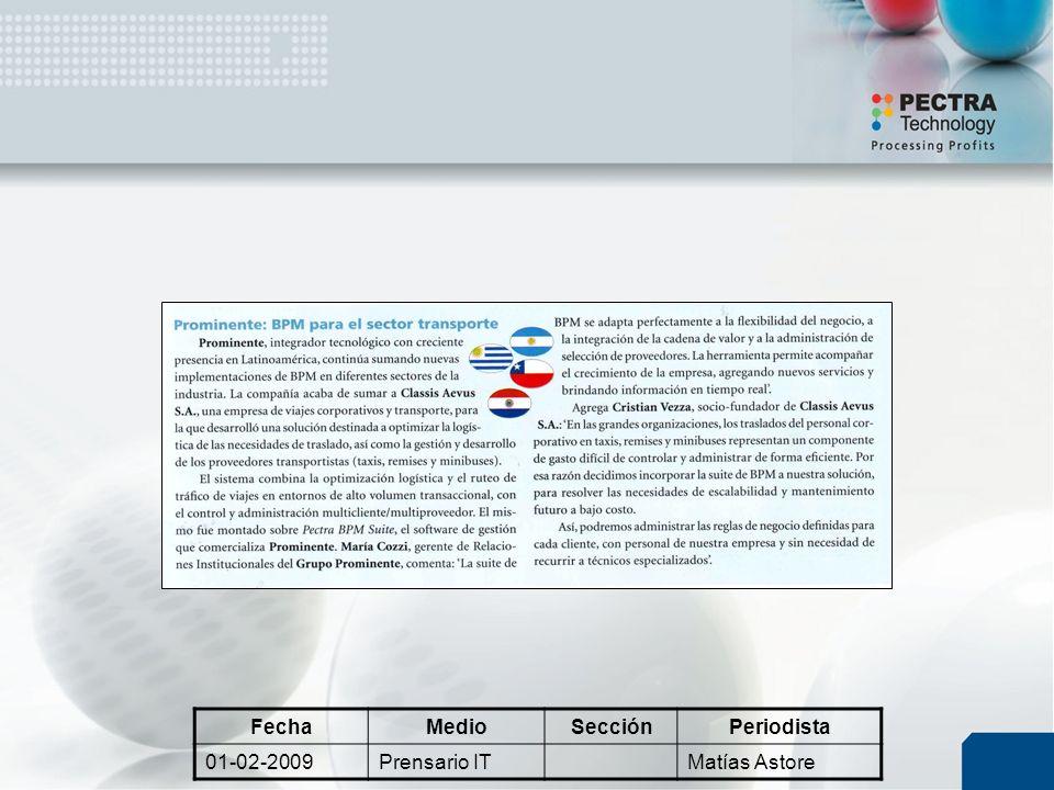 FechaMedioSecciónPeriodista 01-02-2009Prensario ITMatías Astore