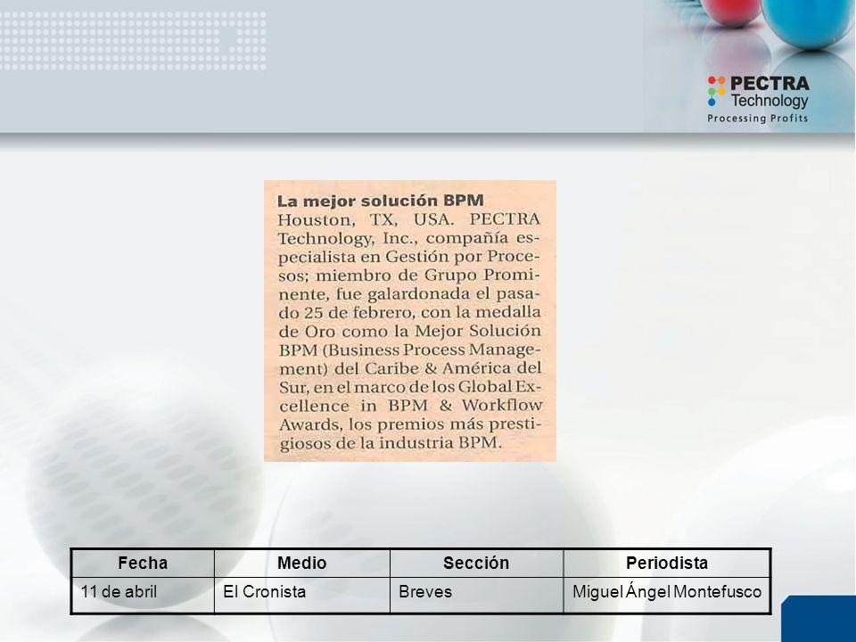 FechaMedioSecciónPeriodista 11 de abrilEl CronistaBrevesMiguel Ángel Montefusco