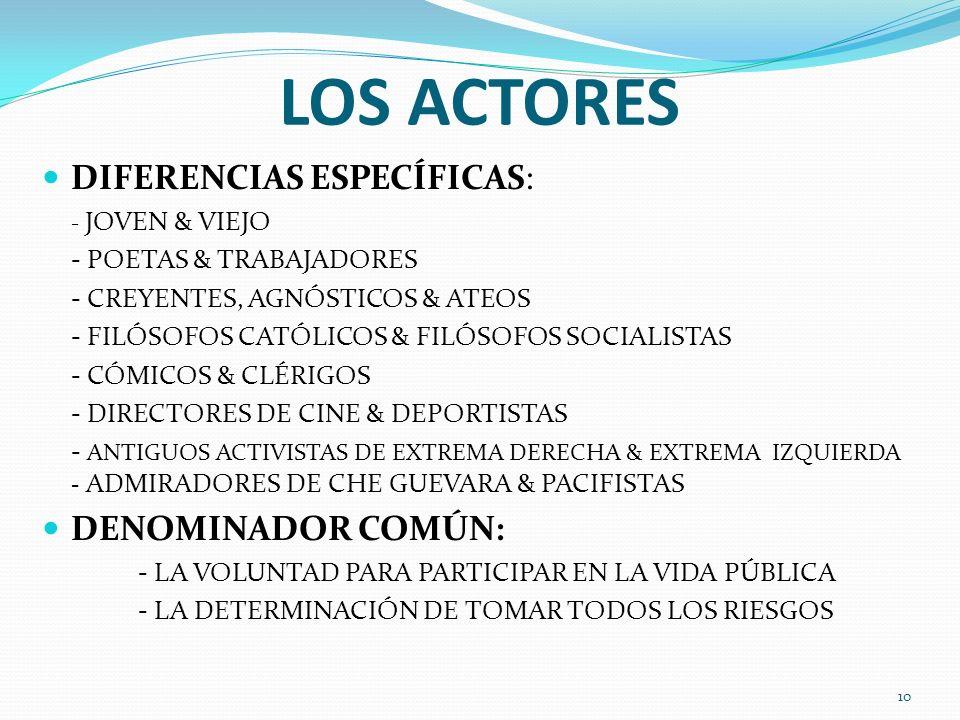 LOS ACTORES DIFERENCIAS ESPECÍFICAS: - JOVEN & VIEJO - POETAS & TRABAJADORES - CREYENTES, AGNÓSTICOS & ATEOS - FILÓSOFOS CATÓLICOS & FILÓSOFOS SOCIALI