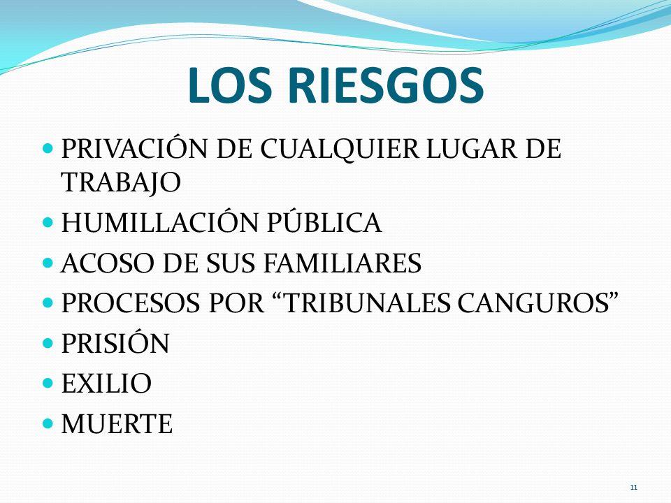 LOS RIESGOS PRIVACIÓN DE CUALQUIER LUGAR DE TRABAJO HUMILLACIÓN PÚBLICA ACOSO DE SUS FAMILIARES PROCESOS POR TRIBUNALES CANGUROS PRISIÓN EXILIO MUERTE