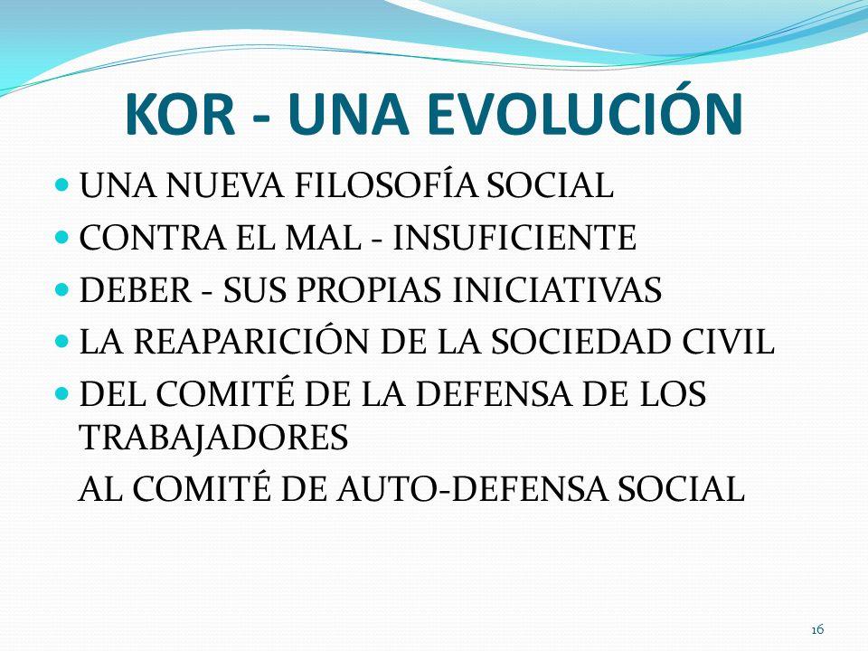 KOR - UNA EVOLUCIÓN UNA NUEVA FILOSOFÍA SOCIAL CONTRA EL MAL - INSUFICIENTE DEBER - SUS PROPIAS INICIATIVAS LA REAPARICIÓN DE LA SOCIEDAD CIVIL DEL CO