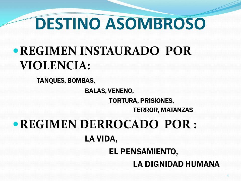 DESTINO ASOMBROSO REGIMEN INSTAURADO POR VIOLENCIA: TANQUES, BOMBAS, BALAS, VENENO, TORTURA, PRISIONES, TERROR, MATANZAS REGIMEN DERROCADO POR : LA VI
