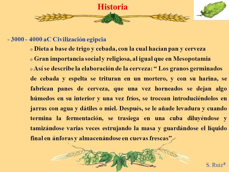 o Dieta a base de trigo y cebada, con la cual hacían pan y cerveza o Gran importancia social y religiosa, al igual que en Mesopotamia o Así se describ