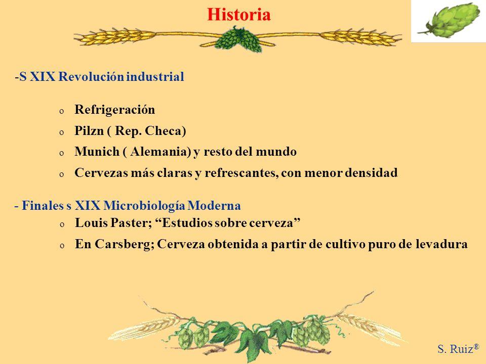Historia S. Ruiz ® -S XIX Revolución industrial o Louis Paster; Estudios sobre cerveza o En Carsberg; Cerveza obtenida a partir de cultivo puro de lev