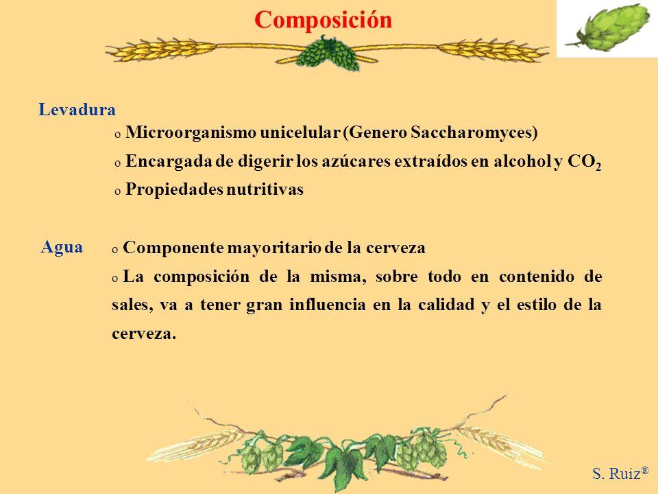 Composición o Microorganismo unicelular (Genero Saccharomyces) o Encargada de digerir los azúcares extraídos en alcohol y CO 2 o Propiedades nutritiva