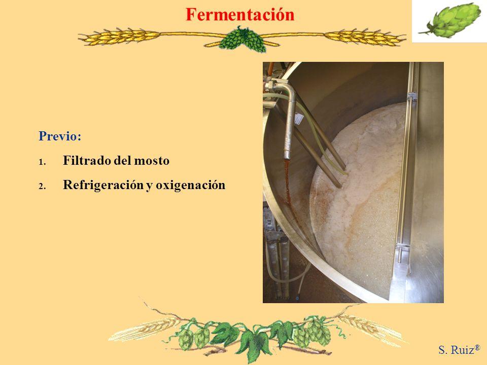 Fermentación Previo: 1. Filtrado del mosto 2. Refrigeración y oxigenación S. Ruiz ®