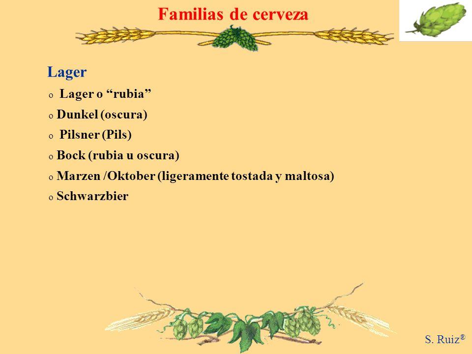 Familias de cerveza Lager o Lager o rubia o Dunkel (oscura) o Pilsner (Pils) o Bock (rubia u oscura) o Marzen /Oktober (ligeramente tostada y maltosa)