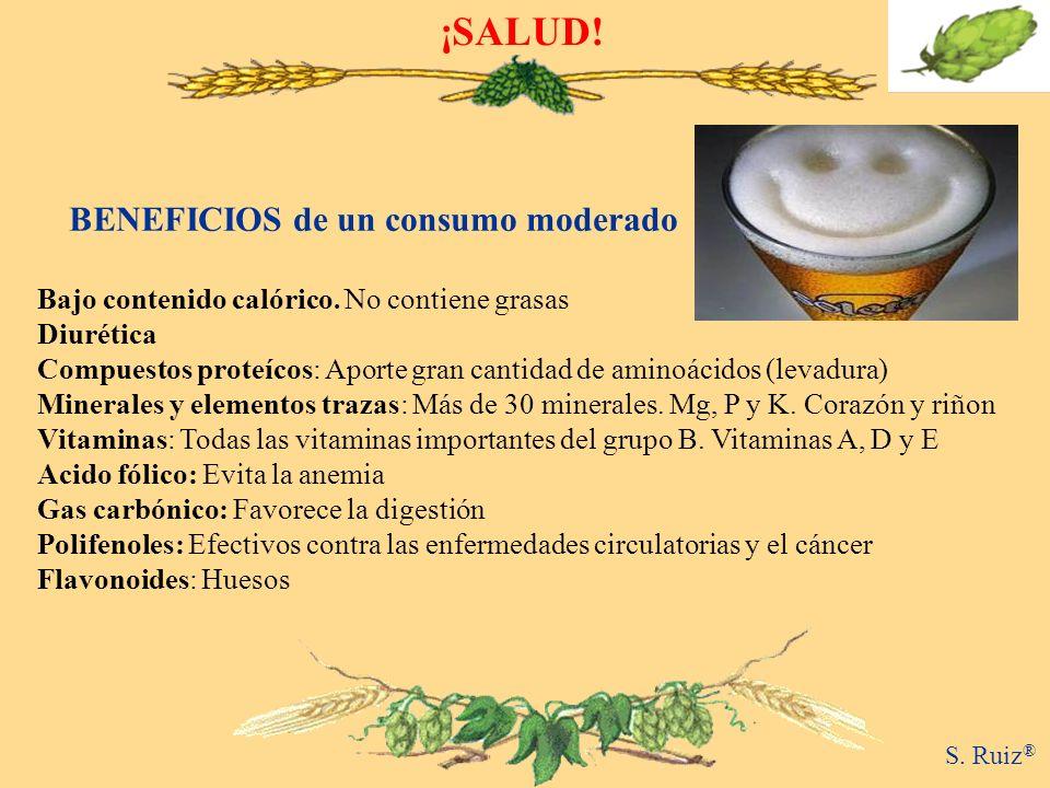 ¡SALUD! BENEFICIOS de un consumo moderado Bajo contenido calórico. No contiene grasas Diurética Compuestos proteícos: Aporte gran cantidad de aminoáci