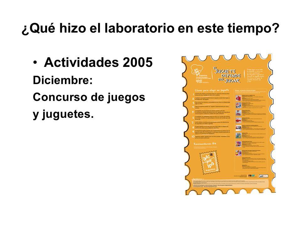 ¿Qué hizo el laboratorio en este tiempo? Actividades 2005 Diciembre: Concurso de juegos y juguetes.