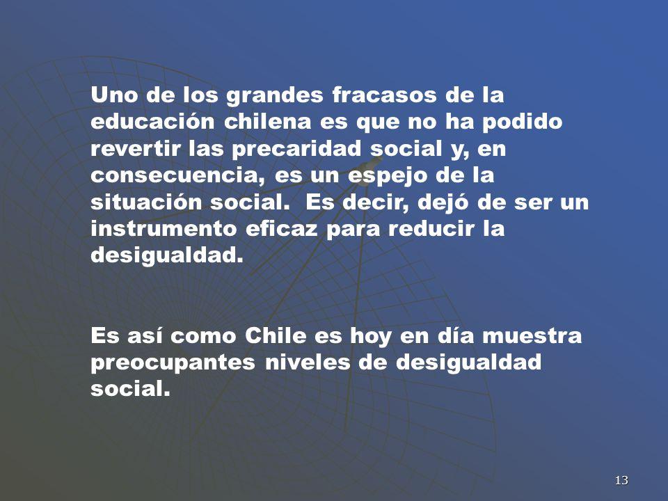 13 Uno de los grandes fracasos de la educación chilena es que no ha podido revertir las precaridad social y, en consecuencia, es un espejo de la situa