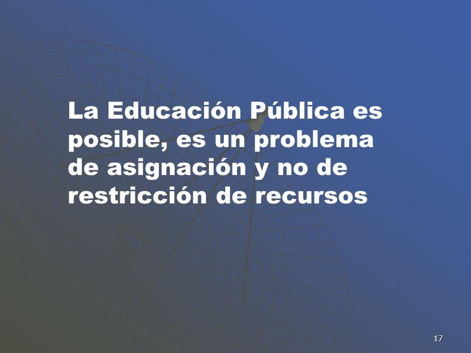 17 La Educación Pública es posible, es un problema de asignación y no de restricción de recursos