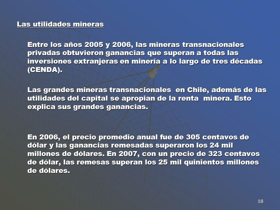 18 Las utilidades mineras Entre los años 2005 y 2006, las mineras transnacionales privadas obtuvieron ganancias que superan a todas las inversiones ex