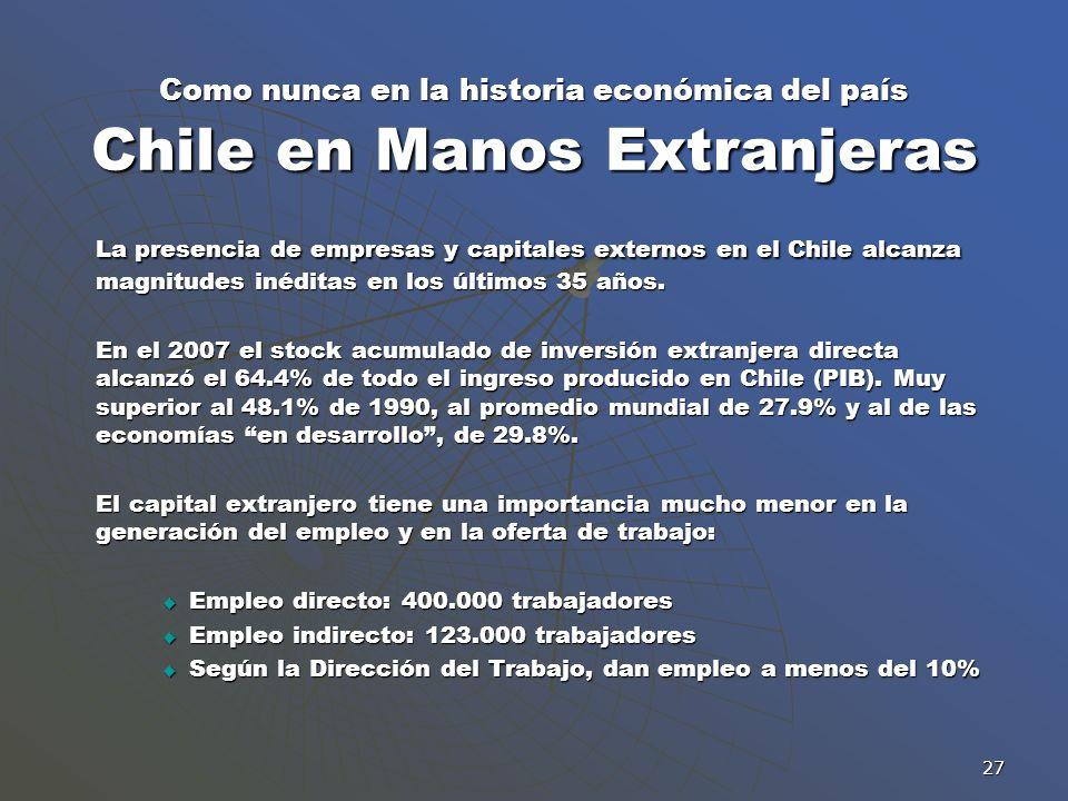 27 Como nunca en la historia económica del país Chile en Manos Extranjeras La presencia de empresas y capitales externos en el Chile alcanza magnitude