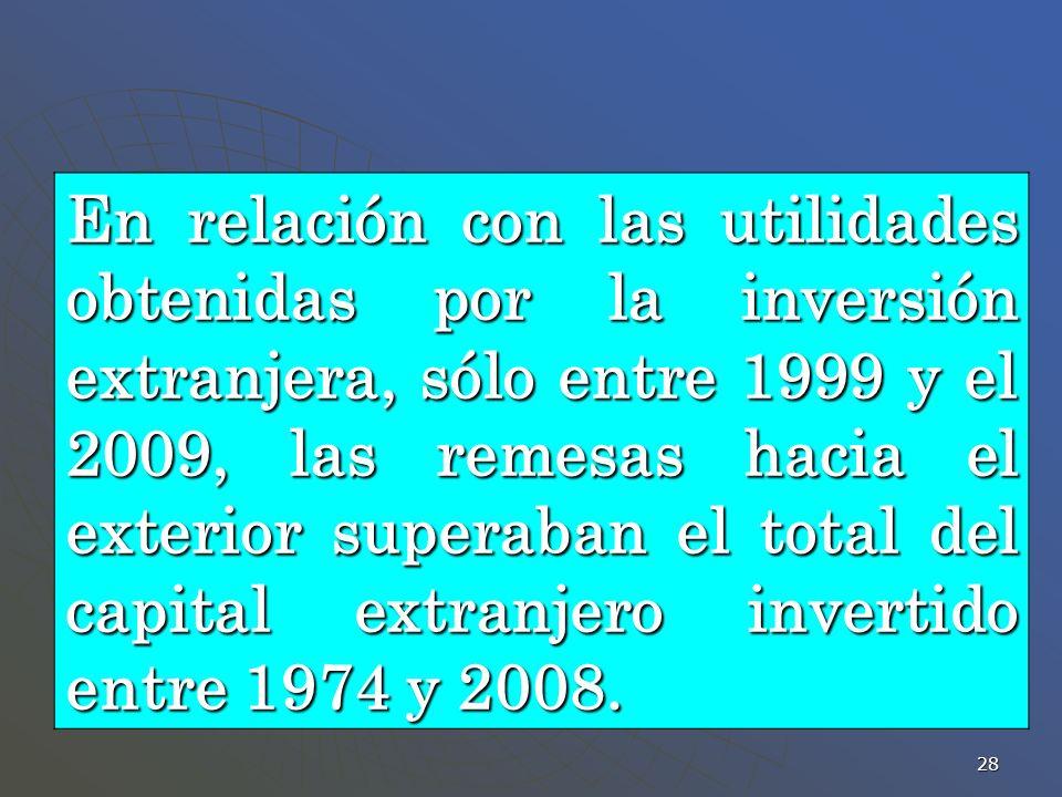 28 En relación con las utilidades obtenidas por la inversión extranjera, sólo entre 1999 y el 2009, las remesas hacia el exterior superaban el total d