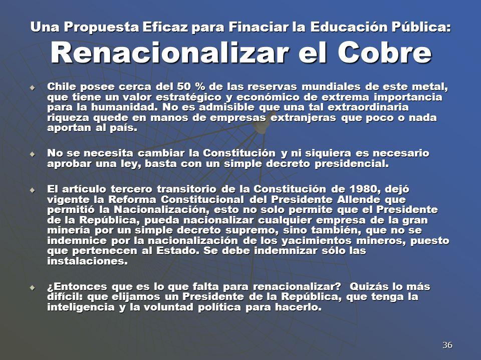 36 Una Propuesta Eficaz para Finaciar la Educación Pública: Renacionalizar el Cobre Chile posee cerca del 50 % de las reservas mundiales de este metal