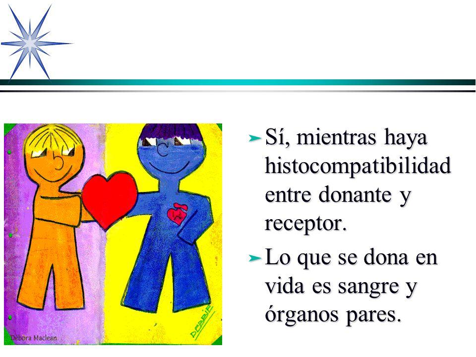 ä Sí, mientras haya histocompatibilidad entre donante y receptor. ä Lo que se dona en vida es sangre y órganos pares.