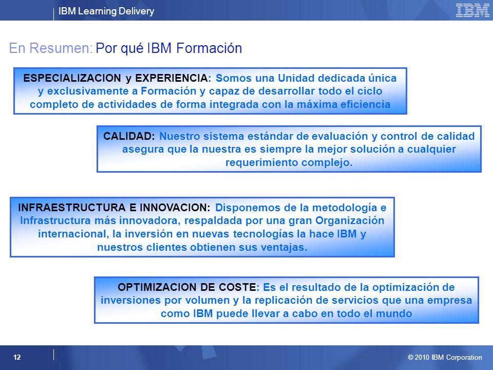 IBM Learning Delivery © 2010 IBM Corporation 12 En Resumen: Por qué IBM Formación ESPECIALIZACION y EXPERIENCIA: Somos una Unidad dedicada única y exc