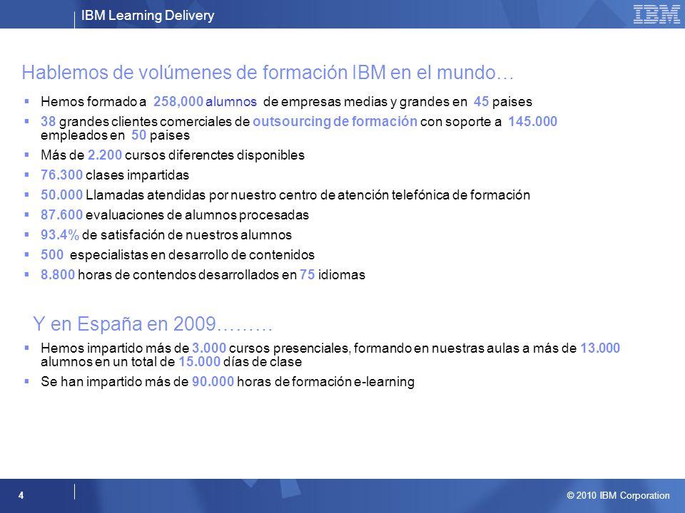 IBM Learning Delivery © 2010 IBM Corporation 4 Hablemos de volúmenes de formación IBM en el mundo… Hemos formado a 258,000 alumnos de empresas medias