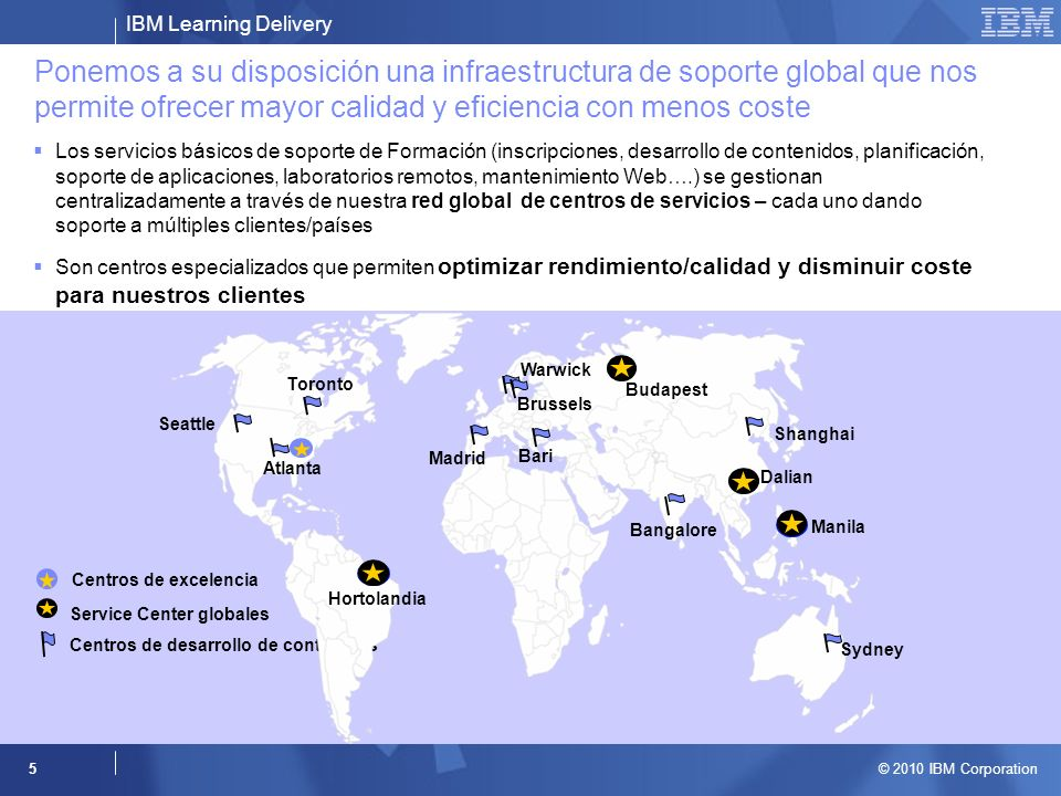 IBM Learning Delivery © 2010 IBM Corporation 5 Ponemos a su disposición una infraestructura de soporte global que nos permite ofrecer mayor calidad y