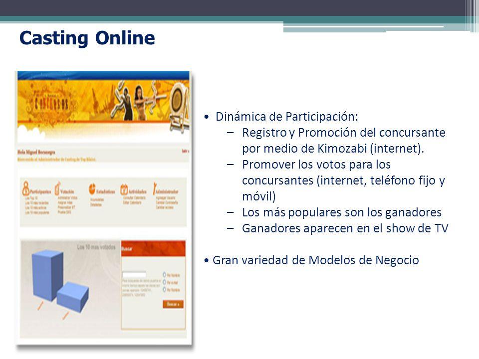 Dinámica de Participación: –Registro y Promoción del concursante por medio de Kimozabi (internet). –Promover los votos para los concursantes (internet
