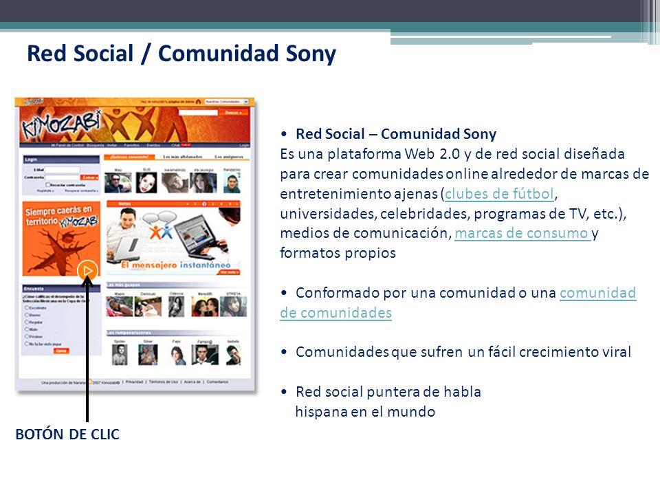Red Social / Comunidad Sony Red Social – Comunidad Sony Es una plataforma Web 2.0 y de red social diseñada para crear comunidades online alrededor de