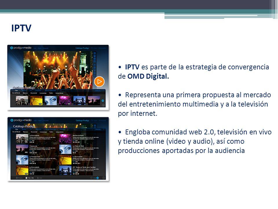 IPTV IPTV es parte de la estrategia de convergencia de OMD Digital. Representa una primera propuesta al mercado del entretenimiento multimedia y a la
